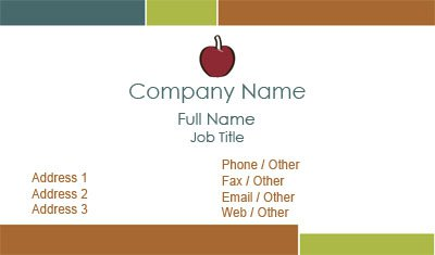Teacher Apple Business Card Template